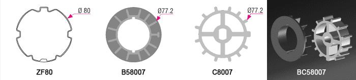 Bague + couronne BC58007 pour tube ZF Ø80mm - 7,00€