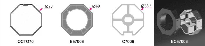 Bague + couronne BC57006 pour tube OCTO70 Ø70mm - 5,50€