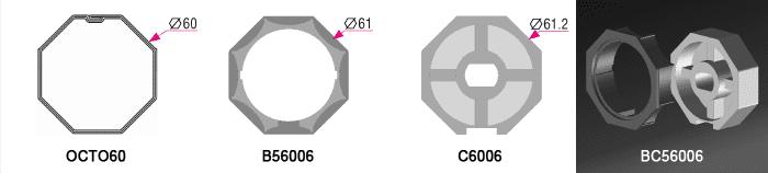 Bague + couronne BC56006 pour tube OCTO60 Ø60mm - 5,00€