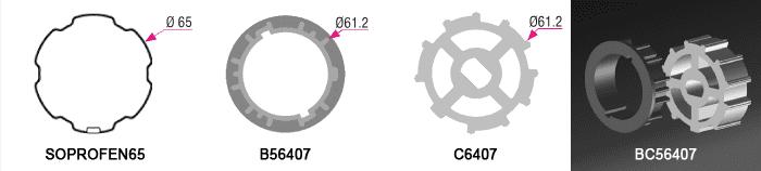Bague + couronne BC56407 pour tube SOPROF Ø65mm - (+6,00€)