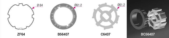 Bague + couronne BC56407 pour tube ZF Ø64mm - 6,00€