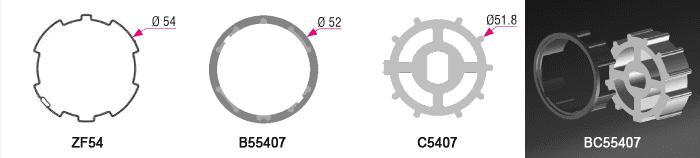 Bague + couronne BC55407 pour tube ZF Ø54mm - 4,50€