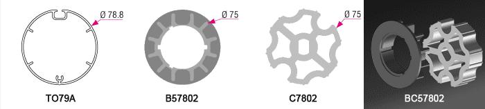 Bague + couronne BC57802 pour tube TO79A Ø79mm - 7,50€