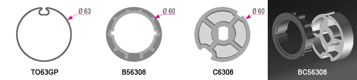 Bague + couronne BC56308 pour tube TO63GP Ø63mm - 4,50€