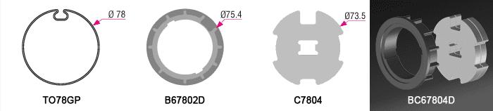 Bague + couronne B67802D + C7804BRIx2 pour tube TO78GP Ø78mm - (+49,50€)
