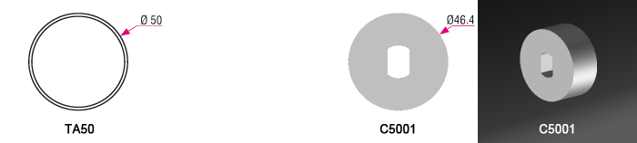 Couronne C5001 pour tube TA50 Ø50mm - (+ 4,50 €)
