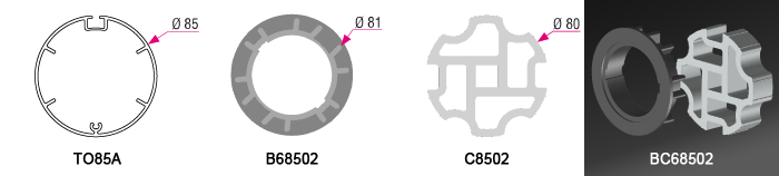 Bague + couronne BC68502 pour tube TO85A Ø85mm - (+12,00€)