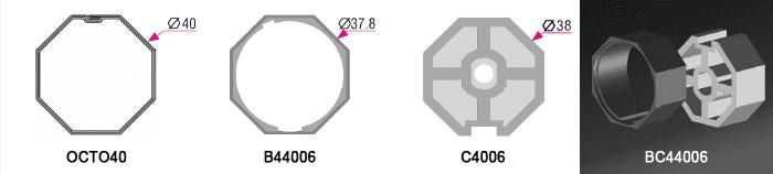 Bague + couronne BC44006 pour tube OCTO40 Ø40mm - 4,00€